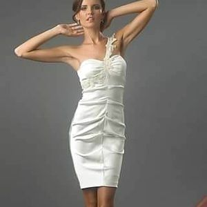 One-Shoulder Ivory Cache Dress Cocktail Pageant